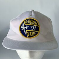 Vintage Oshkosh '91 EAA Patch White Mesh Snapback Hat Baseball Trucker PROP GIFT