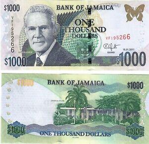 Jamaica 1000 Dollars 2011 UNC