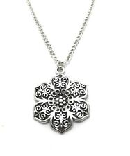 Sterling Silver Chain Link Womens Flower Silver plated Charm Anklet