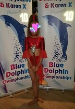 Stunning U14 Freestyle Dance Costume Metallic Red