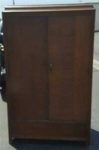 Fabulous Hand Crafted Solid Wood Armoire - NEEDS TLC - GREAT WOOD GRAIN - USEFUL