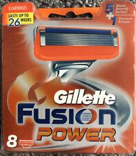 GILLETTE FUSION POWER RAZOR BLADES (8 PACK) GENUINE U.K. Stock. 5 Blade Shaving