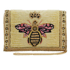 Mary Frances Buzzed Beaded Embroidered Queen Bee Crossbody Clutch Bag Gold New