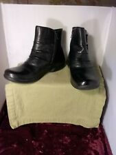 Earth Origins Desoto Black Leather Zip Ankle Boots Womens Size 7M
