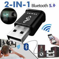 2 in1 USB Bluetooth V5.0 Audio Transmitter&Receiver For TV PC Car AUX Speaker Dw
