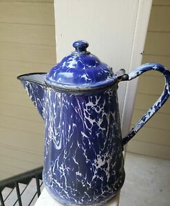 Antique Dark Cobalt Blue Swirl Coffee Pot Graniteware/Enamelware