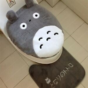 Anime Totoro Bathroom Toilet Lid Cover Seat Mat Non-Slip Cushion Carpet Rug Set