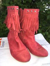 faded glory fringe fuchsia side zip low heel boots womens Size 4