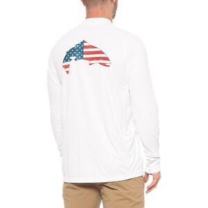 Simms Fishing Solarflex L/S Moisture Wicking Shirt Size 3XL - USA Trout White