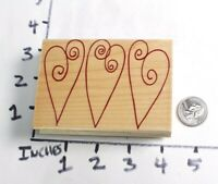 Wooden RUBBER STAMP BlocK Valentine Love Heart Three Hearts