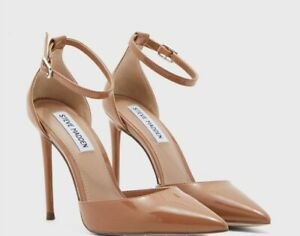 Steve Madden Ladies Stiletto Court Shoe Camel Faux Patent Leather New UK8 Straps