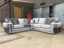 huge sale new tango crushed velvet corner sofa black and silver so cheap !
