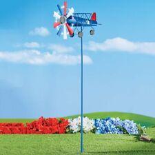 Solar Powered Patriotic Airplane Wind Spinner Garden Yard Stake