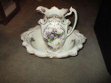 Vintage English Floral Multi-Color Ceramic Pitcher And Basin Set