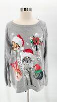 FREEZE Womens Gray Light Up Christmas CAT Heads Ugly Sweater Snowflakes Sz XXL