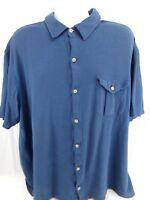 Duluth Trading Men's Work Shirt 2XL XXL Blue Armpit Gussets Short Sleeve