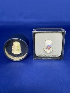 Pair of thimbles One is Coalport & one is Wedgwood Both Boxed Mint Condition