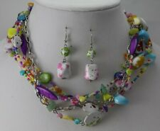 Multi Strand Multi Color Candy looking Necklace Free Matching Earrings