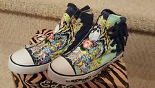 Ed Hardy Women's Highrise Los Feliz Blue Panther Tattoo Shoes US Size 6 Eur 37