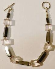 bracelet bijou rétro perle hématite et cube de verre rose translucide * 5199