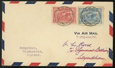 1931 FIRST DAY COVER  AUSTRALIA #111-112  Air Mail DERBY TO PERTH FDC