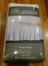 "New De Moocci Home Basics Twin / Full 16"" Drop White Ruffled Bed Skirt"