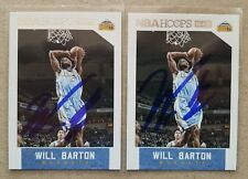 WILL BARTON 2015-6 NBA Hoops Signed Autographed Basketball Card Lot (2) #214