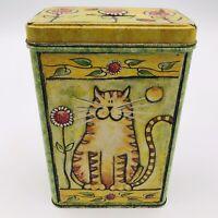 "Vintage Tabby Cat Tin Coin Bank Box 6"" Tall 4"" X 2.5"""