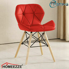 Eiffel Dining Chairs Wooden Legs Padded Seat Comfortable PU Leather Beech Chair