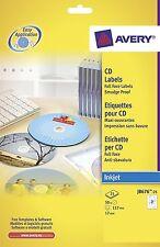 Avery J8676-25 A4 Sheets Full Face CD Labels for Inkjet Printers - White