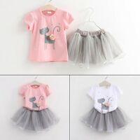 2PCS Kids Baby Girl Summer Clothes Cat T-shirt Tops+Tutu Skirt Dress Outfits Set