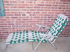 VINTAGE ALUMINUM FOLDING MULTI POSITION WEB CHAISE LOUNGE CHAIR BEACH LAWN POOL