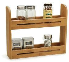Kitchen Spice Rack Organizer Storage Shelf Holder Wall Mount Bamboo Wood Decor