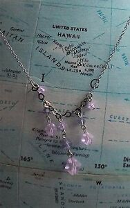 Purple and Lavender Crystal Sterling Titanic Delicate Necklace