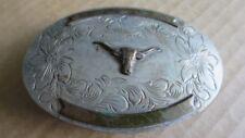 Western Silver Engraved Belt Buckle - Cowboy