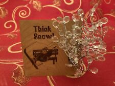 "Think Snow 3.5 ""x 3.5"" Homemade Engraved Wood freestand Sign Skier Winter Decor"