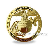 United States Marine Corps Seal Car Badge Semper Fi Cut Out Gold Auto Emblem