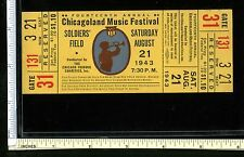 1943 Chicagoland Music Festival @ Soldier Field Chicago; Amazing Unused Ticket