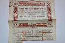 Compagnie française des Voies ferrées économique 1890 2 actions de 500 Frs