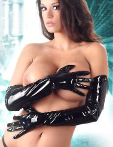 """Lack Finger-Handschuhe S - L extra lang schwarz vinyl gloves """"Smoothy"""" L45"""""""