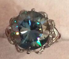 Diamonds Accent Silver Filigree Ring Vs2 Huge 3.79Ct Moissanite & Natural