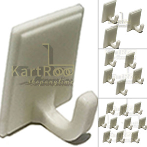 1,3,5,10 White Self Adhesive Plastic Hooks Stick On Door Wall Wardrobe Home New
