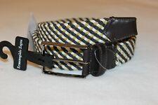 Ermenegildo Zegna Men's Brown Leather Cotton Web Belt Made in Italy Size 32 $295