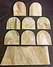 9 Vintage Green & Caramel Slag Stained Glass Flat Panels - Lamp Repair Parts Lot