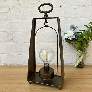 Vintage Industrial Standing Metal Glass Bedroom Side Table Desk LED Light Lamp D