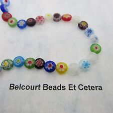 Chevron Glass Beads - Flat Rounds 8x8x4mm Multi Color Approx. 45 pcs. Beautiful