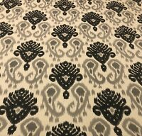 Ikat Print Grey Black Linen Blend Upholstery Multipurpose Fabric By The Yard