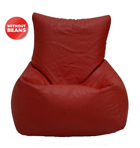 Red Beanbag Chair Without Beans XXL Leatherette Chair Cover