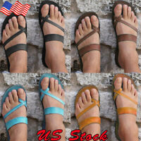 Women's Toe Ring Flat Sandals Casual Beach Peep Toe Flip-Flop Shoes Summer Size