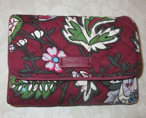 Vera Bradley BORDEAUX BLOOMS Euro Trifold Wallet Signature Quilted Burgundy